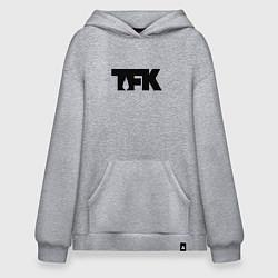 Толстовка-худи оверсайз TFK: Black Logo цвета меланж — фото 1