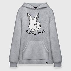 Толстовка-худи оверсайз Rabbit: follow me цвета меланж — фото 1