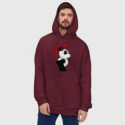Толстовка-худи оверсайз Поцелуй панды: для нее цвета меланж-бордовый — фото 2