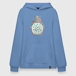 Толстовка-худи оверсайз Flower Totoro цвета мягкое небо — фото 1
