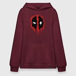 Толстовка-худи оверсайз Deadpool logo цвета меланж-бордовый — фото 1