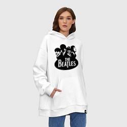 Толстовка-худи оверсайз The Beatles Band цвета белый — фото 2