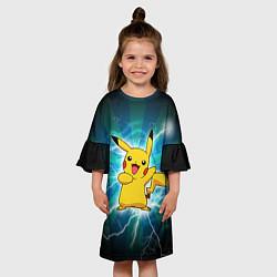 Платье клеш для девочки Искрящийся Пикачу цвета 3D — фото 2