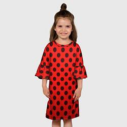 Платье клеш для девочки Леди Баг: узор цвета 3D — фото 2