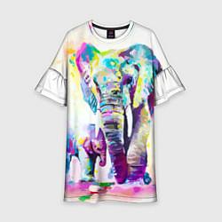 Платье клеш для девочки Акварельные слоны цвета 3D — фото 1