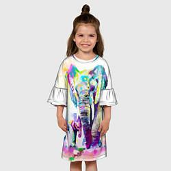 Платье клеш для девочки Акварельные слоны цвета 3D-принт — фото 2