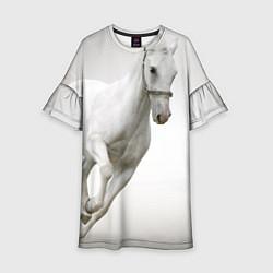 Платье клеш для девочки Белый конь цвета 3D-принт — фото 1