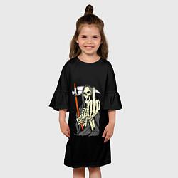 Платье клеш для девочки Смерть цвета 3D-принт — фото 2