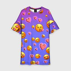 Платье клеш для девочки Очень много эмодзи цвета 3D-принт — фото 1