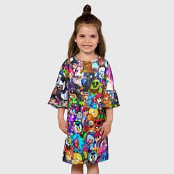 Платье клеш для девочки BRAWL STATS ВСЕ ПЕРСОНАЖИ цвета 3D-принт — фото 2