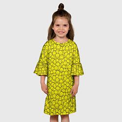 Платье клеш для девочки Смайлики цвета 3D-принт — фото 2