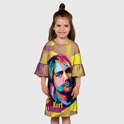 Платье клеш для девочки Kurt Cobain: Abstraction цвета 3D-принт — фото 2