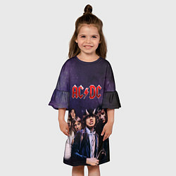Платье клеш для девочки AC/DC цвета 3D-принт — фото 2