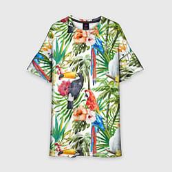 Платье клеш для девочки Попугаи в тропиках цвета 3D — фото 1