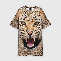 Платье клеш для девочки Взгляд леопарда цвета 3D — фото 1