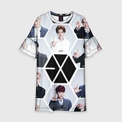 Платье клеш для девочки EXO Boys цвета 3D-принт — фото 1