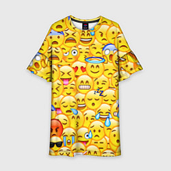 Платье клеш для девочки Emoji цвета 3D-принт — фото 1