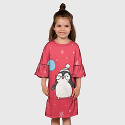 Платье клеш для девочки Влюбленная пингвинка цвета 3D-принт — фото 2