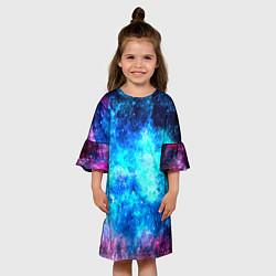 Платье клеш для девочки Голубая вселенная цвета 3D-принт — фото 2