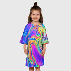 Платье клеш для девочки Цветные разводы цвета 3D — фото 2