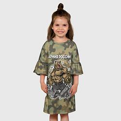 Платье клеш для девочки Армия России: ярость медведя цвета 3D — фото 2