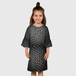 Платье клеш для девочки Черная кожа цвета 3D-принт — фото 2