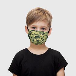 Маска для лица детская Камуфляж: зеленый/хаки цвета 3D — фото 1