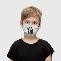 Маска для лица детская Рок-панда цвета 3D — фото 1