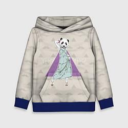 Толстовка-худи детская Panda Girl: yes yes? цвета 3D-синий — фото 1