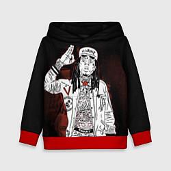 Толстовка-худи детская Lil Wayne: street style цвета 3D-красный — фото 1