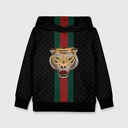 Толстовка-худи детская GUCCI: Diamond Tiger цвета 3D-черный — фото 1