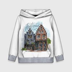 Толстовка-худи детская Амстердам цвета 3D-меланж — фото 1