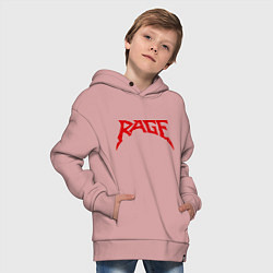 Детская хлопковая толстовка оверсайз с принтом Rage, цвет: пыльно-розовый, артикул: 10011009806093 — фото 2