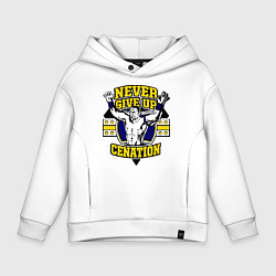Толстовка оверсайз детская Never Give Up: Cenation цвета белый — фото 1