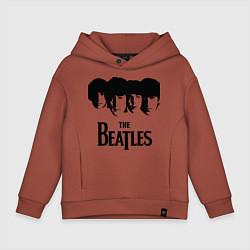 Толстовка оверсайз детская The Beatles: Faces цвета кирпичный — фото 1