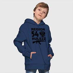 Толстовка оверсайз детская Region 54 Rulezz цвета тёмно-синий — фото 2