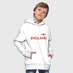 Толстовка оверсайз детская Сборная Англии: 10 номер цвета белый — фото 2