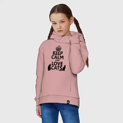 Толстовка оверсайз детская Keep Calm & Love Cats цвета пыльно-розовый — фото 2