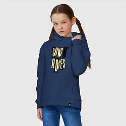 Толстовка оверсайз детская Guns n Roses: cream цвета тёмно-синий — фото 2