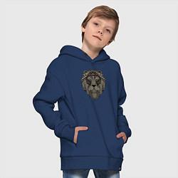 Толстовка оверсайз детская Metallized Lion цвета тёмно-синий — фото 2