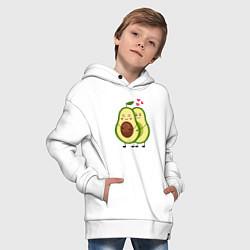 Толстовка оверсайз детская Влюбленные Веганы Авокадо цвета белый — фото 2