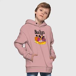 Толстовка оверсайз детская THE BEATLES цвета пыльно-розовый — фото 2