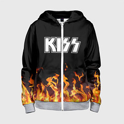 Толстовка на молнии детская Kiss: Hell Flame цвета 3D-меланж — фото 1