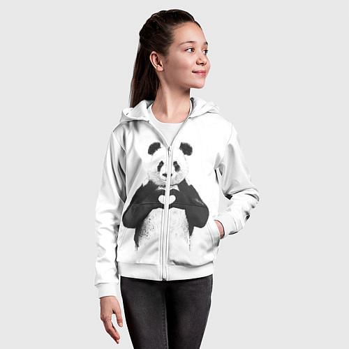Детская толстовка на молнии Panda Love / 3D-Белый – фото 4