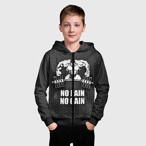 Детская толстовка на молнии No pain, no gain / 3D-Черный – фото 3