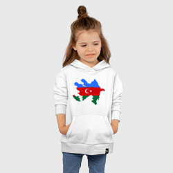 Толстовка детская хлопковая Azerbaijan map цвета белый — фото 2