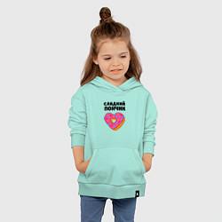 Толстовка детская хлопковая Сладкий пончик цвета мятный — фото 2