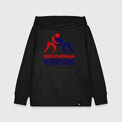 Толстовка детская хлопковая Greco-roman wrestling цвета черный — фото 1