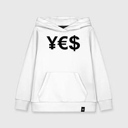 Толстовка детская хлопковая YE$ цвета белый — фото 1