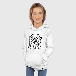 Толстовка детская хлопковая NY Bones цвета белый — фото 2